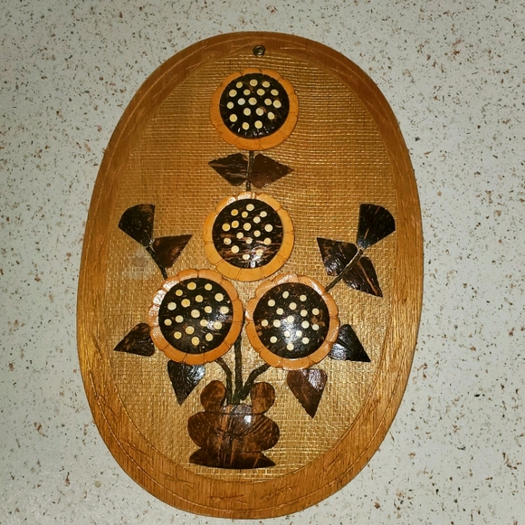Vintage 70s Wall Hanging Carved Coconut Shell Flow